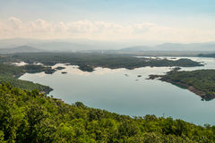 Summer view of the Slansko Lake. With islands near Niksic town, Montenegro Stock Images