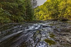 Summer view of a small river in the mountain Royalty Free Stock Image