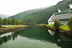 Summer view of Sognefjorden fjord, Norway. Large cruise ship in Flom port, Norway. Summer Norway landscape, Flam. Northern Europe trip concept Stock Photo
