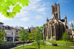 Summer view of St Nicholas' Church in Ghent Royalty Free Stock Photos