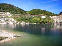 Summer view of Sutovo lake, Slovakia royalty free stock photography