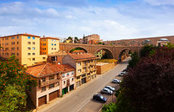 Summer view of Teruel. With Los Arcos aqueduct and Bridge. Aragon, Spain Royalty Free Stock Photography