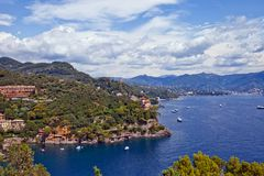 Summer view of Tigullio Gulf near Portofino, Italy. Tigullio Gulf near Portofino village in summer. View from castle Brown. Italian Riviera Royalty Free Stock Photo