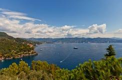 Summer view of Tigullio Gulf near Portofino, Italy Stock Photo