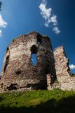 Summer view to castle ruins in Buchach with beautiful sky and clouds, Ternopil region, Ukraine. Buchach castle ruins, Ternopil region, Ukraine. Dating to 14th Stock Images