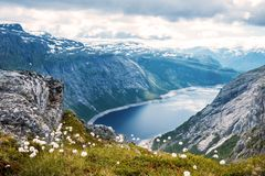 Summer view to mountain lake Norway stock photography