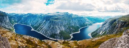 Summer view to mountain lake Norway royalty free stock images