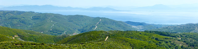 Summer view from top of the hill (Greece) Royalty Free Stock Images