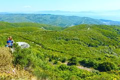 Summer view from top of the hill (Greece) Royalty Free Stock Photos