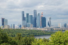 Summer view of tower business center `Moscow-city` Royalty Free Stock Photography