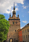 Summer view of a tower in Sighisoara Royalty Free Stock Image