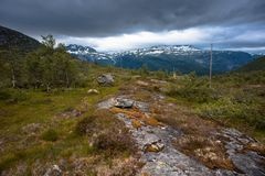 The summer view of Trolltunga in Odda, Ringedalsvatnet lake, Norway Royalty Free Stock Images