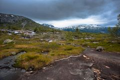 The summer view of Trolltunga in Odda, Ringedalsvatnet lake, Norway Royalty Free Stock Photography