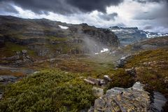 The summer view of Trolltunga in Odda, Ringedalsvatnet lake, Norway Stock Photo