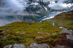 The summer view of Trolltunga in Odda, Ringedalsvatnet lake, Norway Royalty Free Stock Photos