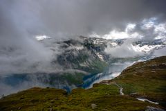 The summer view of Trolltunga in Odda, Ringedalsvatnet lake, Norway Stock Images
