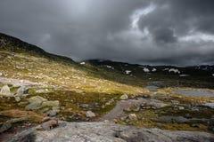 The summer view of Trolltunga in Odda, Ringedalsvatnet lake, Norway Stock Image