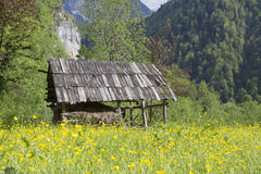 Summer view valley and rural small house, roof covered with wood Royalty Free Stock Photos