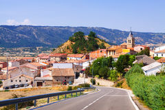 Summer view of  village in Aragon. Frias de Albarracin Stock Photo