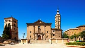 Summer view of   Zaragoza. Aragon. Summer view of Church of San Juan de los Panetes and Zuda Tower in Zaragoza. Aragon, Spain Royalty Free Stock Images