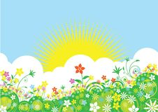 Free Summer Views With Sun And Flowers Royalty Free Stock Photo - 126136425
