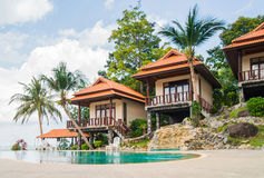 Summer villa with a swimming pool Stock Photos