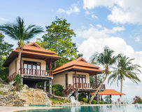 Summer villa with a swimming pool Royalty Free Stock Photos
