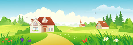 Summer village banner. Illustration of a beautiful summer village Stock Photo