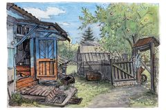 A summer in a village. An open door of a porch. royalty free illustration