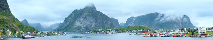 Summer village Reine panorama (Lofoten, Norway). Stock Photos