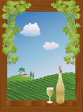 Summer vineyard. Window with a view of a vineyard in summer, with wine on the windowsill Stock Images