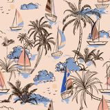 Summer Vintage Beautiful seamless pattern island with boat and w. Indsurf on retro style. Landscape with palm trees,beach and ocean vector on hand drawn on light vector illustration