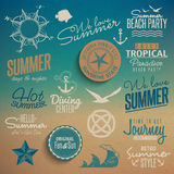 Summer vintage elements Royalty Free Stock Photo