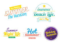 Summer Vintage  hipster color logo icon. On white background Stock Photos