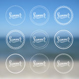 Summer vintage logo set on a blurred background. Stock Image
