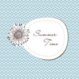 Summer vintage ornament with sunflowers Stock Photos