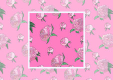 Summer vintage seamless pattern with pions flowers and leaves in pink color, natural greeting card.Vector Seamless Royalty Free Stock Photo