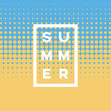 Summer vintage vector poster template with halftone background design and beach sand and sea colors. Royalty Free Stock Images