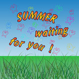 summer waiting for you. vector colored background Royalty Free Stock Photos