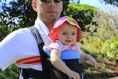 Summer walk. Father with his happy smiling daughter royalty free stock photos