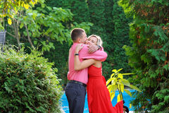 Summer walk in love couples hugging Royalty Free Stock Photos