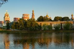 Summer warm evening at the Novodevichy Convent. The monastery is located in the south of Moscow royalty free stock photos