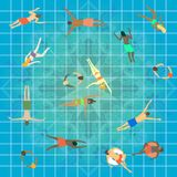 Swimming pool top view. Group of people of different age, gender and nationalities swimming in sport center. vector illustration