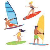 Summer water beach extreme sports. Windsurfing. Summer water beach sports, activities. Board with a sail. Men and women standing on the board learning to Stock Image