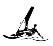 Summer water beach sports, activities. Board with a sail, wetsuit. Man standing on the board learning to windsurf. Windsurfer tra. Young man windsurfing. blue Stock Illustration