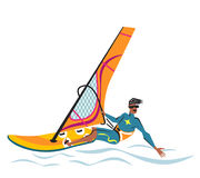 Summer water beach sports, activities. Orange board with a sail, wetsuit. Man standing on the board learning to windsurf. Isolate. Young man windsurfing. blue Vector Illustration