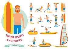 Summer water beach sports, activities set. Man windsurfing, surfing, jet water skiing, paddleboarding, tubing vector illustration