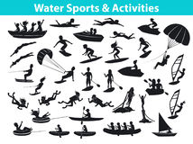 Summer water beach sports, activities SIlhouette set. People, man, woman, couple, family windsurfing, surfing, jet skiing, stand up paddleboarding, snorkeling Stock Images