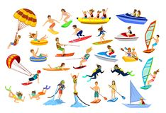 Summer water beach sports, activities. People, man, woman, couple, family windsurfing, surfing, jet skiing, stand up paddleboarding, snorkeling, scuba diving Royalty Free Stock Image