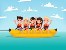 Summer water fun. Children ride on a banana boat. Vector illustr. Ation of a flat design Stock Photos